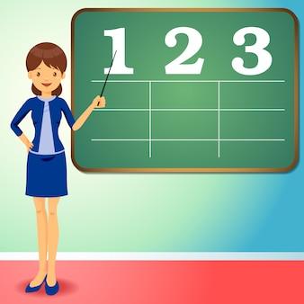 Flat design teacher with black board