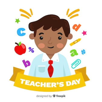 Flat design teacher with school objects and symbols around