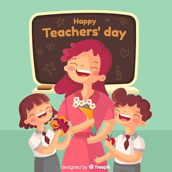Flat design teachers day background