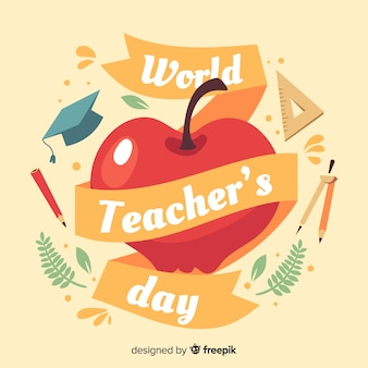 Flat design teachers day background