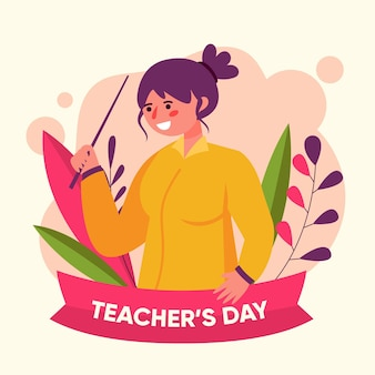 Flat design teachers' day celebrate