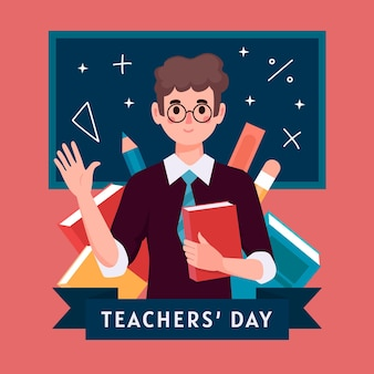 Flat design teachers' day celebration