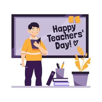 Flat design teachers day concept