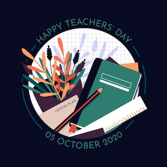 Flat design teachers day concept
