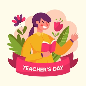Flat design teachers' day event