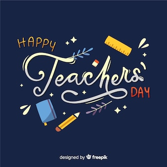 Flat design teachers day with lettering Premium Vector