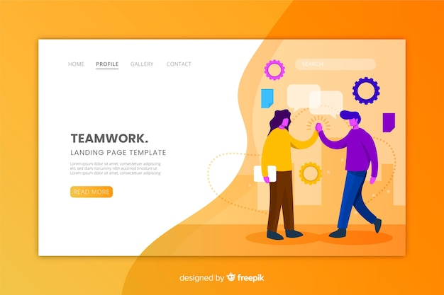 Flat design of a teamwork landing page