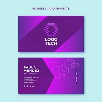 Flat design technology horizontal business card Premium Vector