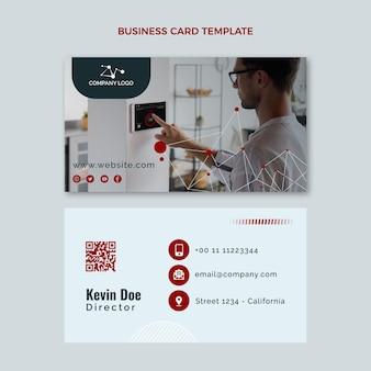 Flat design technology horizontal business card