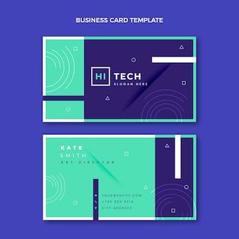 Плоский дизайн технологии горизонтальной визитной карточки