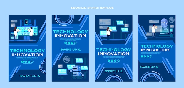 Flat design technology instagram stories