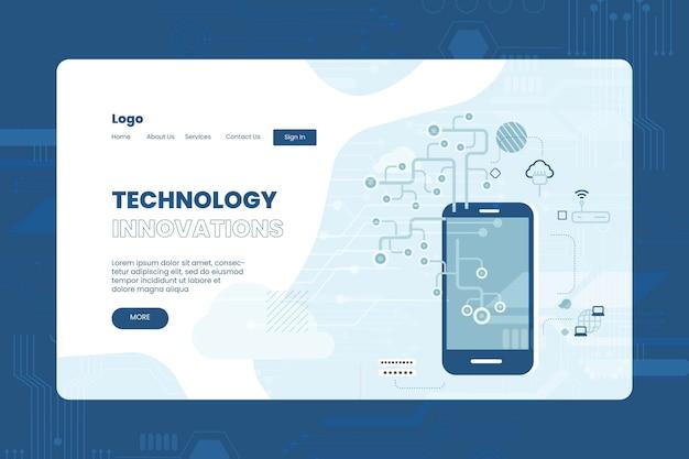 Flat design technology landing page