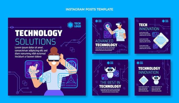 Flat design technology solutions instagram post