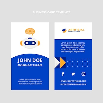 Flat design technology vertical business card
