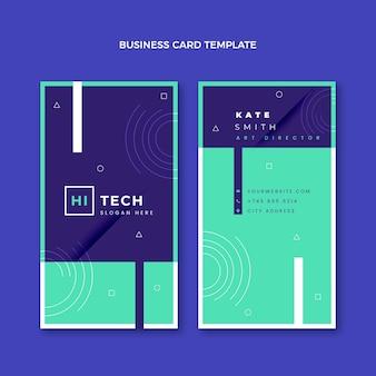 Плоский дизайн технологии вертикальной визитной карточки