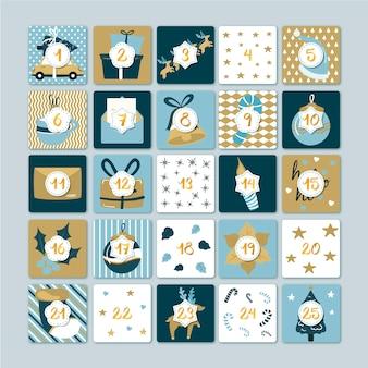 Плоский дизайн шаблона адвент календарь