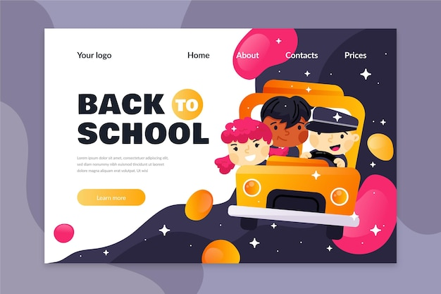Modello di design piatto torna alla pagina di destinazione della scuola
