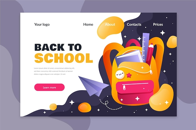 Flat design template back to school landing page
