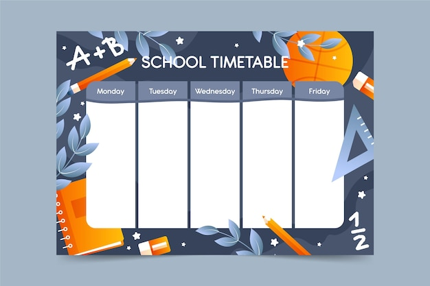 Flat design template back to school timetable
