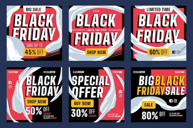 Flat design template black friday instagram posts pack