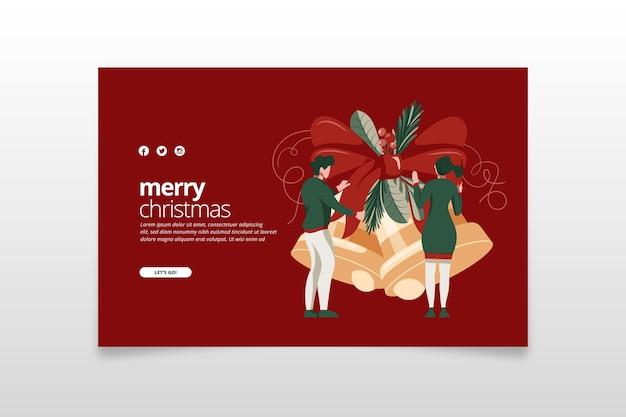 Flat design template christmas landing page