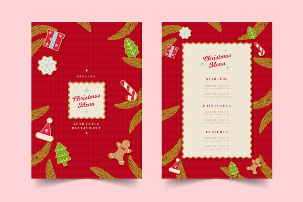 Flat design template christmas menu set