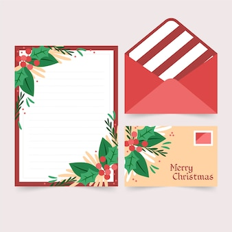 Flat design template christmas stationery