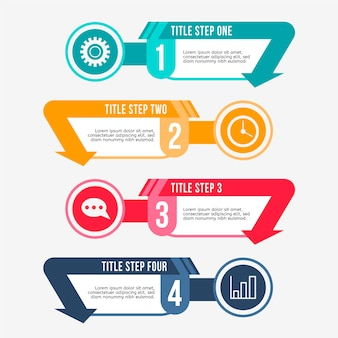 Flat design template infographic steps
