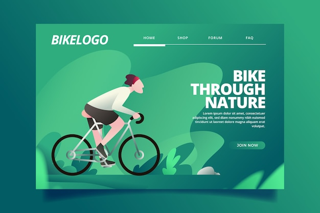 Flat design template landing page outdoor sport