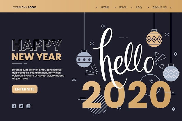 Flat design template new year landing page