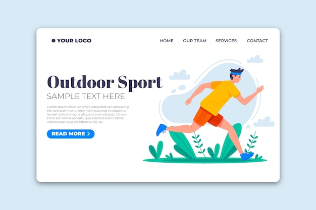 Flat design template outdoor sport landing page