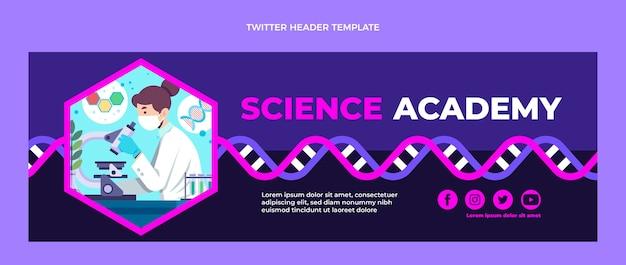 Modello di design piatto dell'intestazione twitter di scienza