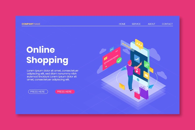 Flat design template shopping online landing page