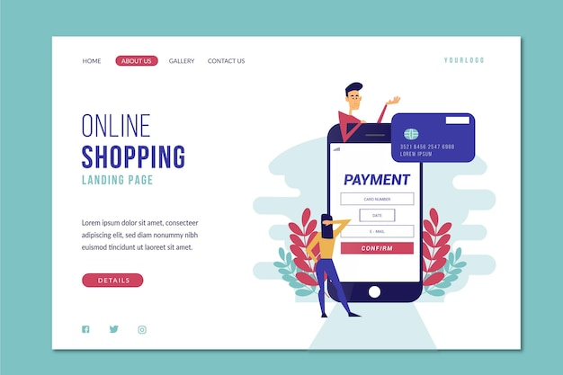 Flat design template shopping online landing page