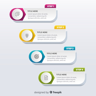Flat design template steps infographic