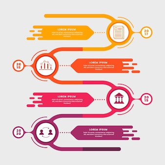 Flat design template timeline infographic