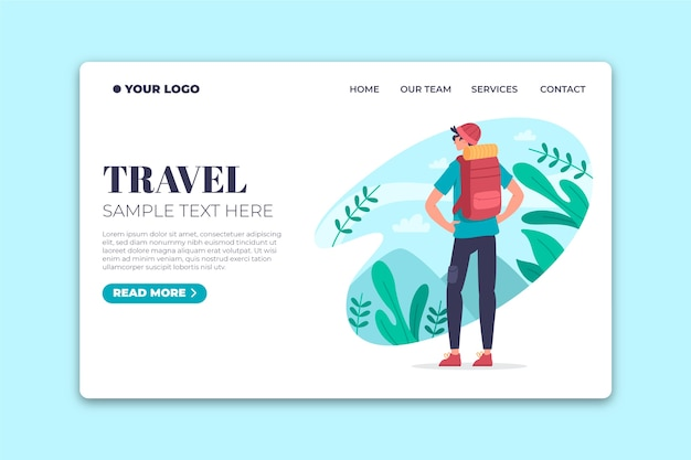 Flat design template  travel landing page