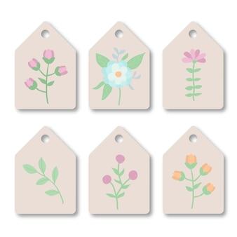 Плоский шаблон дизайна с набором цветочных тегов