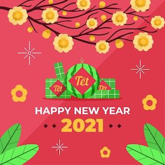 Плоский дизайн фона têt (вьетнамский новый год)