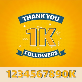 Flat design thank you 1k followers for social media
