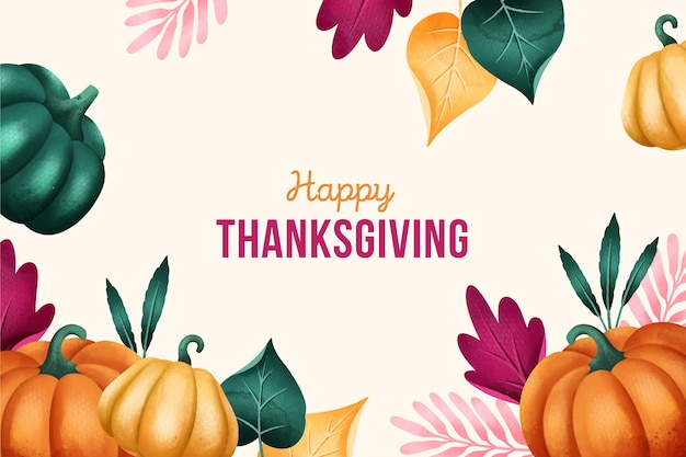 Flat-design of thanksgiving background in watercolor