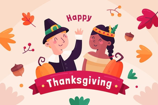 Flat design thanksgiving background with boy and girl