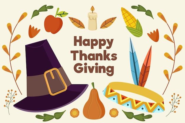 帽子とフラットなデザインの感謝祭の背景