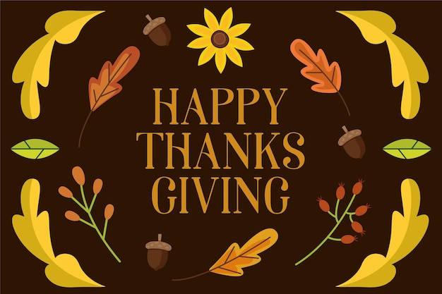 葉とヒマワリとフラットなデザインの感謝祭の背景