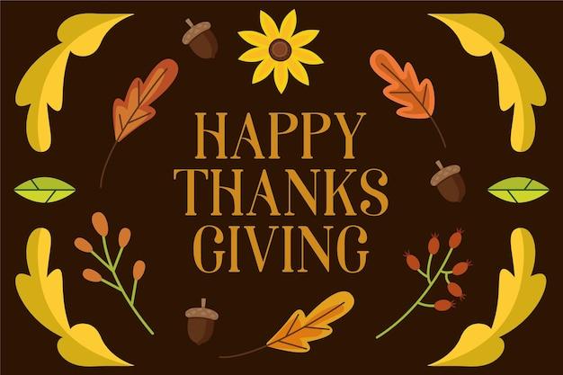 Sfondo di ringraziamento design piatto con foglie e girasole