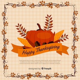 Flat design thanksgiving background with pumpkin and leaves