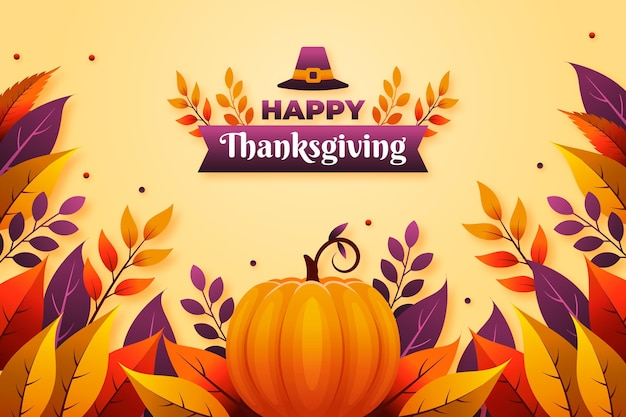 Flat design thanksgiving background with pumpkin