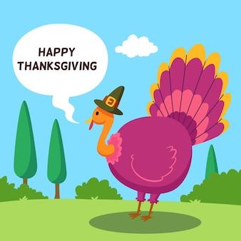 トルコと帽子とフラットなデザインの感謝祭の背景