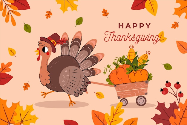 Flat design thanksgiving background with turkey