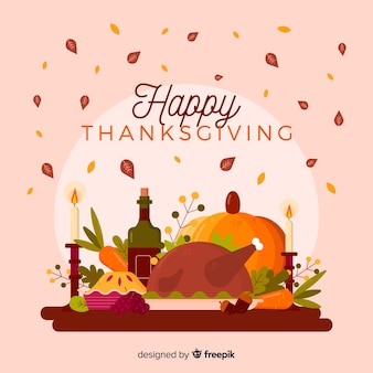 Flat  design for thanksgiving background